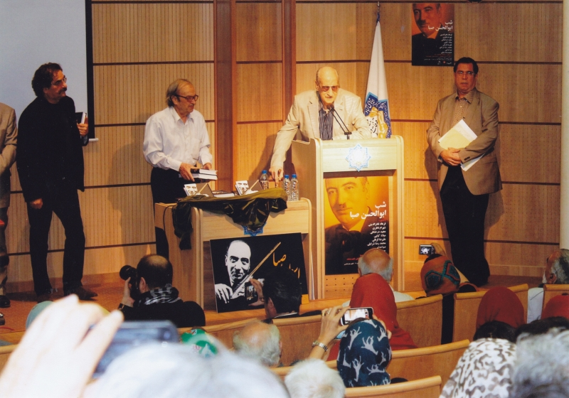 علی دهباشی، عبدالوهاب شهیدی، حسن ناهیدی و شهرام ناظری در شب ابوالحسن صبا شهریور 93