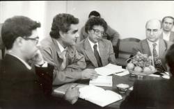 « اتفاق نویسندگان» تاجیک ـ آبان 70 از راست : خسرو رضوی، احمد کریمی حکاک، عسگر حکیم و علی دهباشی