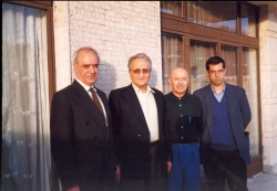 بهمن 1376 از راست : علی دهباشی، محمد علی امیری، ابوالفضل قاضی و بزرگ نادرزاد