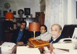 مهر 1378 ـ دکتر حسن خطیبی ـ دکتر محمد رضا شفیعی کدکنی و دهباشی ـ عکس از علی هاشمی