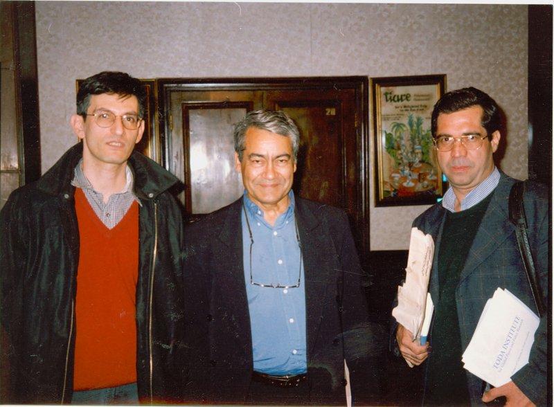 هتل لاله ـ 20 دی 1379 از راست: علی دهباشی، مجید تهرانیان و شفق سعد