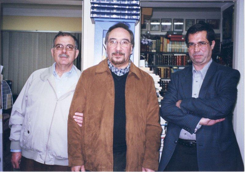 دفتر مجله بخارا از راست : علی دهباشی، دکتر محمدعلی همایون کاتوزیان و بهرام بیانی ـ دهه 1380