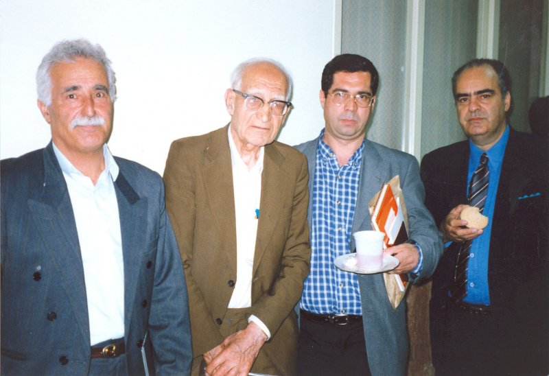 تبریز ـخرداد 1380 ـ از سمت راست : خسرو افشار، علی دهباشی ، لئون میناسیان و رحیم رئیس نیا