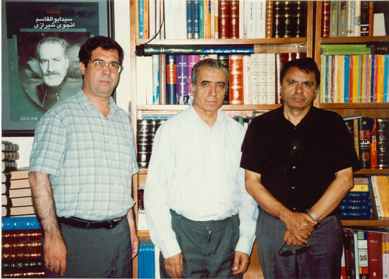 شهریور 1381 ـ دفتر مجله بخارا میدان فردوسی از راست : لطیف ناظمی، عبدالکریم تمنا و علی دهباشی