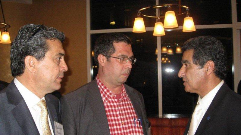 لس آنجلس ـ کنفرانس مطالعات ایرانی از راست: عباس حجت پناه ، علی دهباشی و بهرام افشار ـ خرداد 1389