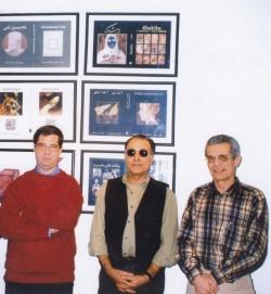 دفتر مجله طاووس ـ 1378 از راست : کلود کرباسی، عباس کیارستمی و علی دهباشی