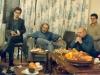 از راست : احمد هدی، رضا براهنی، محمد حقوقی و علی دهباشی در جلسه شعرخوانی منزل حسن فدایی ( اسفند 1365)