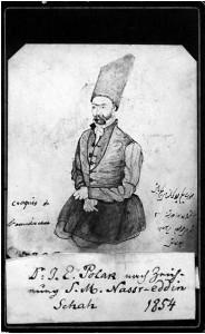نقاشی ناصرالدین شاه از دکتر ادوارد پولاک ، پزشک مخصوص دربار
