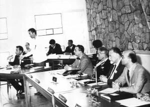 از راست نجف دریابندری، منوچهر بزرگمهر،احمد آرام و پرویز ناتل خانلری در کنفرانس زبان فارسی تاجیکستان ـ ادهه 1340