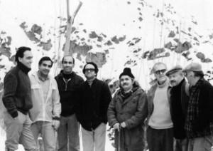 از راست : نجف دریابندری، علی هاشمی،عباس زریاب خویی، مهدی اخوان ثالث،محمدرضا شفیعی کدکنی، عبدالحسین ناخدا،صفدر تقی زاده و دکتر عاصی( اواخر دهه پنجاه)