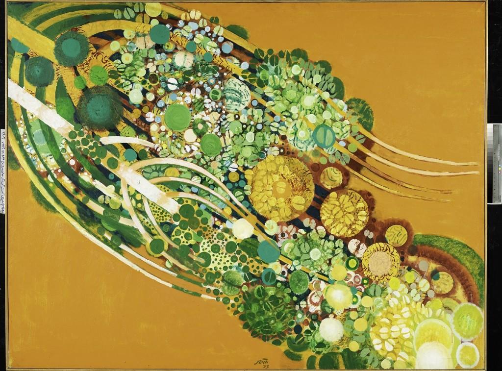 ابوالقاسم سعیدی، موزه هنرهای معاصر، آبستره گلها، رنگ روغن روی بوم 210×160 تاریخ 1973