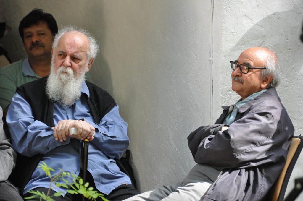 دکتر محمدرضا شفیعی کدکنی و استاد هوشنگ ابتهاج (ه.ا.سایه)در جلسه پنجشنبه صبح های کتابفروشی آینده که به دیدار و گفتگو با سلیم نیساری اختصاص داشت. عکس از مهدی خدیری