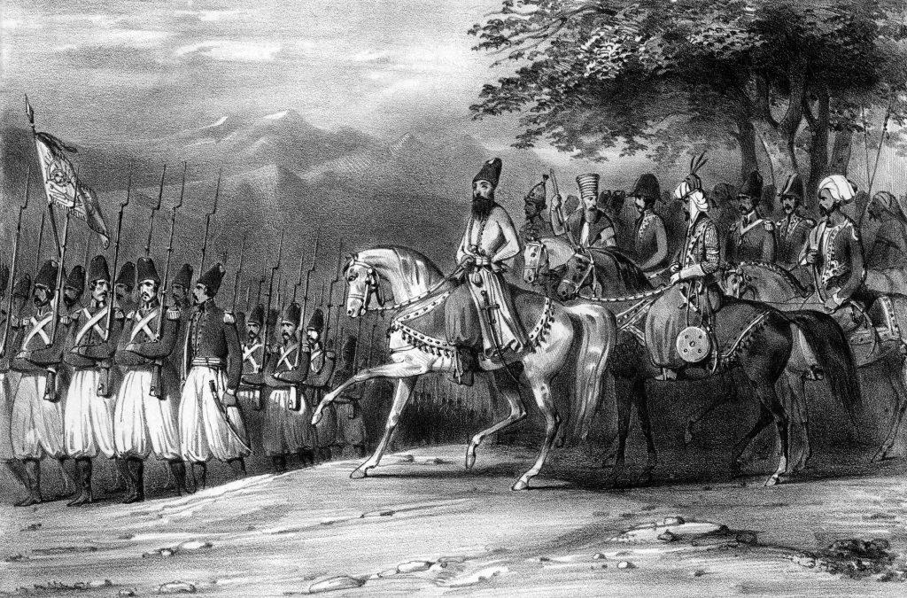 عباس میرزا در هنگام جنگهای ایران و روس، گراور قرن نوزده میلادی