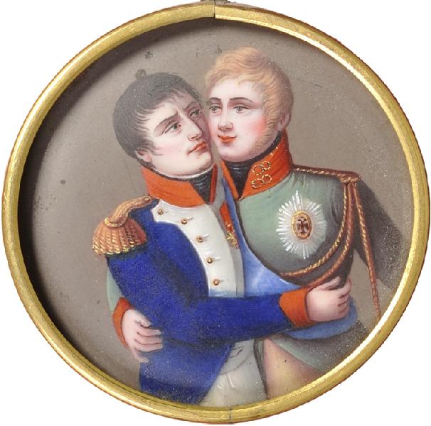 مدالی فرانسوی مربوط به بعد از قرارداد تیلسیت که ناپلئون و الکساندر تزار روس را در حال استقبال از همدیگر نشان می دهد