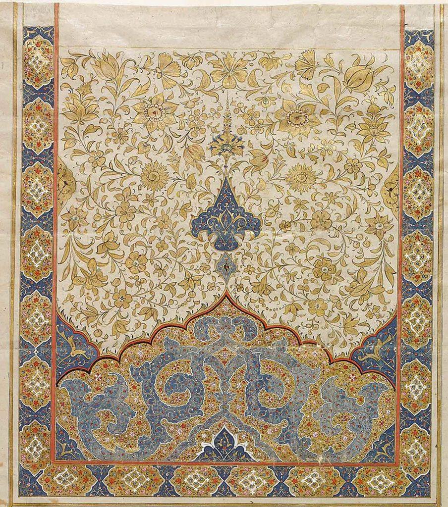سر لوح تذهیب شده نامه موجود در موزه آقاخان
