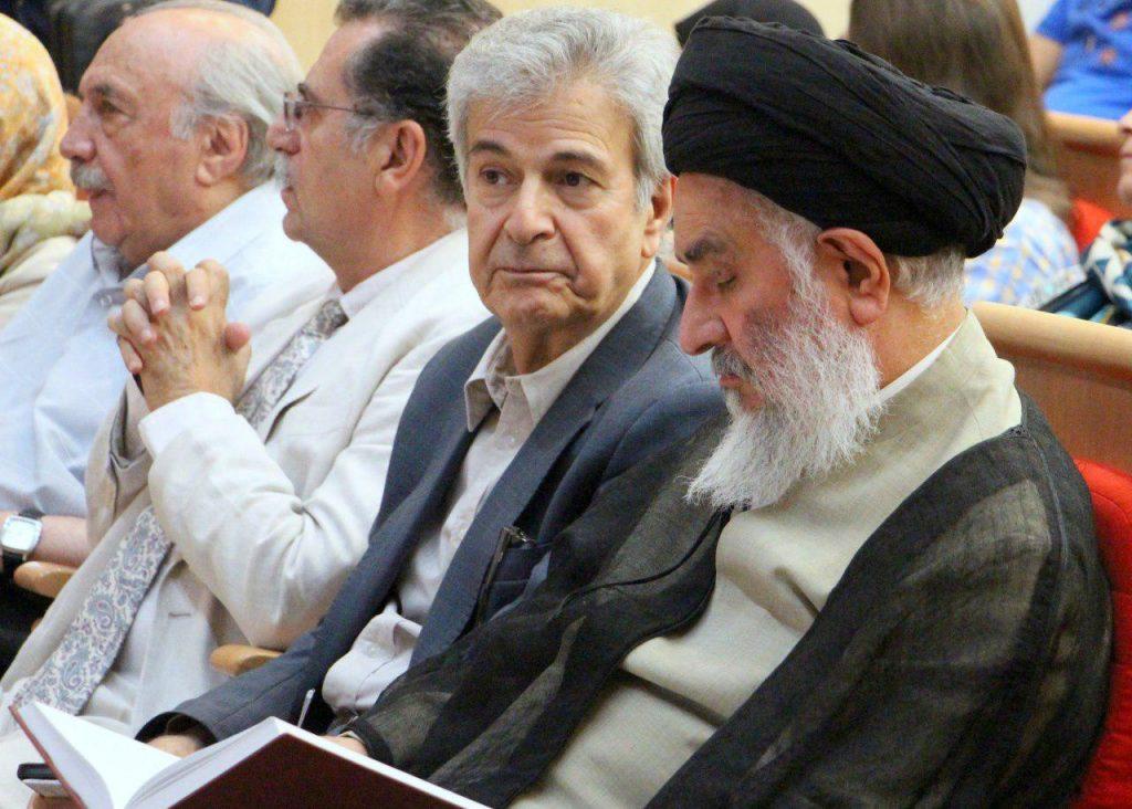 دکتر سید مصطفی محقق داماد در کنار دکتر اصغر دادبه