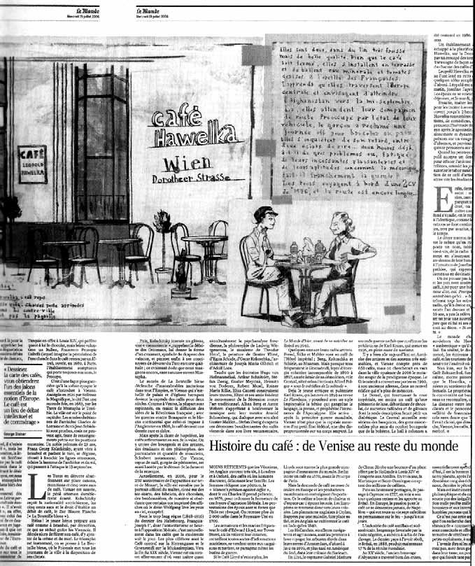 بریده روزنامه دربارۀ تاریخچه قهو هخانه هاولکا