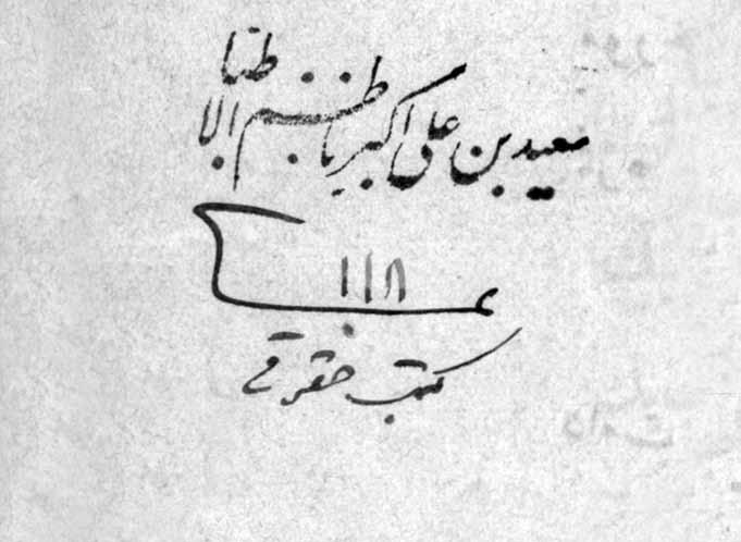مهر «سعید بن علی اکبر ناظم الاطباء