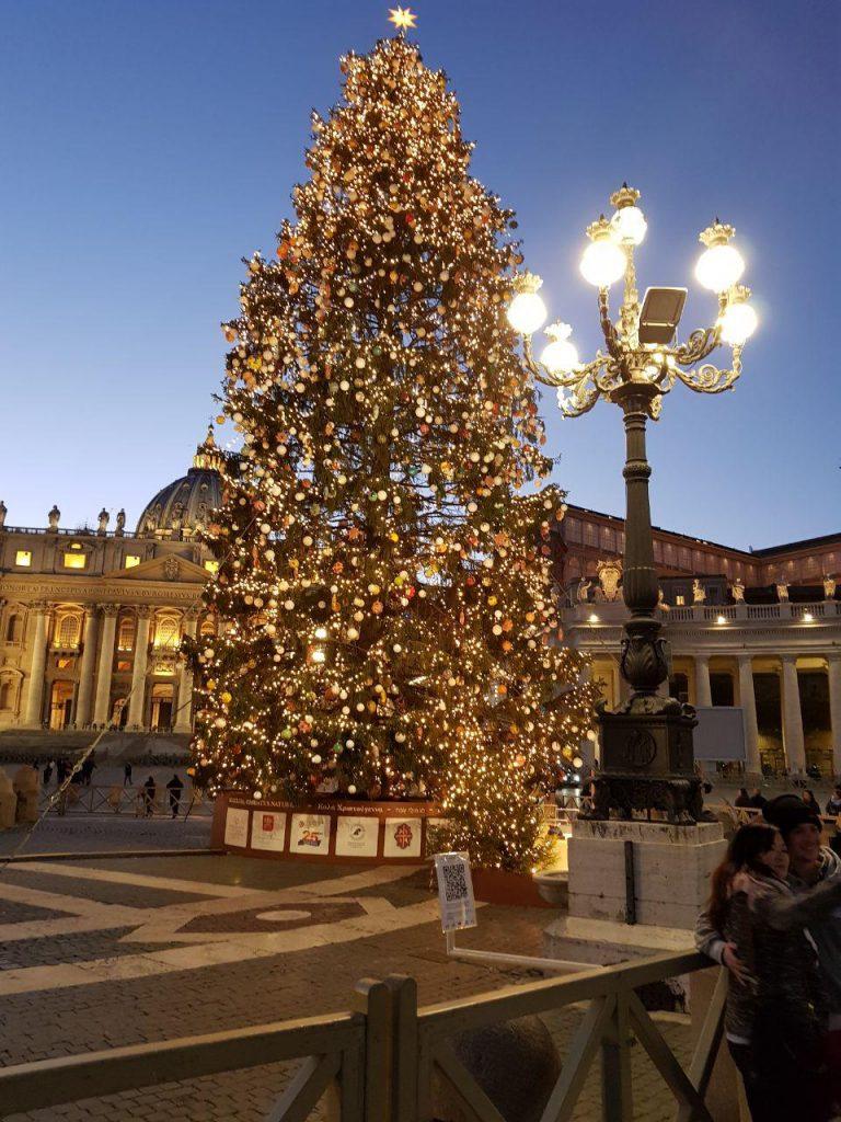 درخت کاج کریسمس هم نهاده بر میدان .در قد و قواره این زیارتگاه و پاپ و دم دستگاهش که داستانها دارد که هر سال چگونه و از کدام شهر بیاورند و اذین کنند....