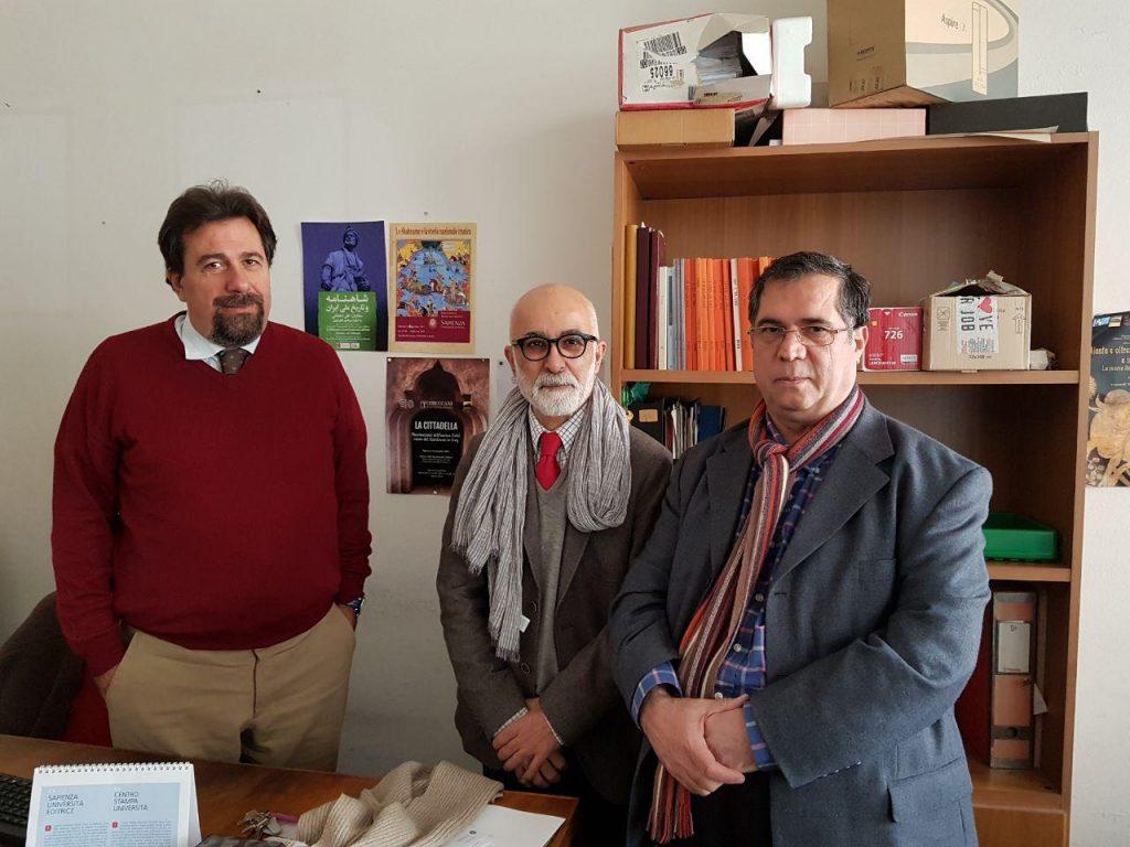 فتر کار پروفسور کارلو چرتی همراه با دکتر ابوالحسن حاتمی (دانشکده ادبیات و فلسفه ساپینزا)