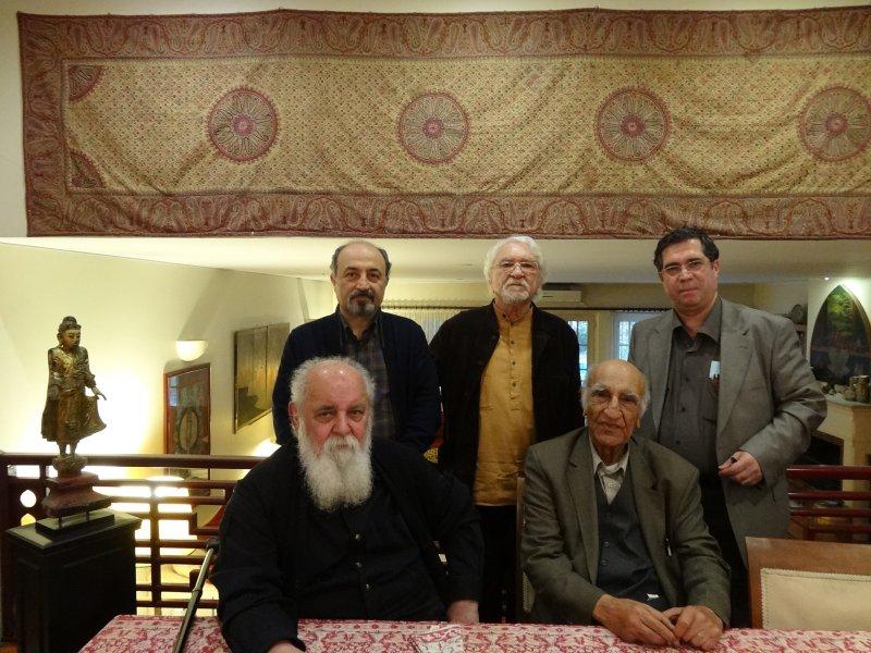 با دکتر باستانی پاریزی، ه.ا.سایه و داریوش طلایی در منزل دکتر داریوش شایگان