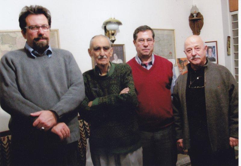 محمد احصایی، علی دهباشی، ایرج افشار و کارلو چرتی ـ عکس از فرنگیس افشار نیمه دوم اسفند 1389