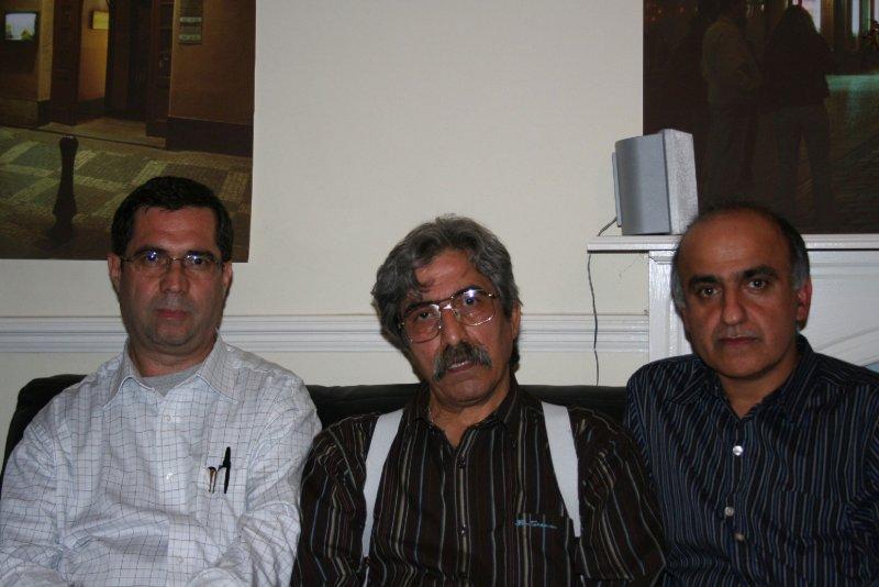 لندن چهارشنبه 26 تیر 1387 ( 16 جولای 2008) از راست : پرویز جاهد ، مصطفی شفافی و علی دهباشی